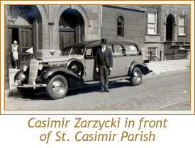 Casimir Zarzycki in front of St. Casimir Parish